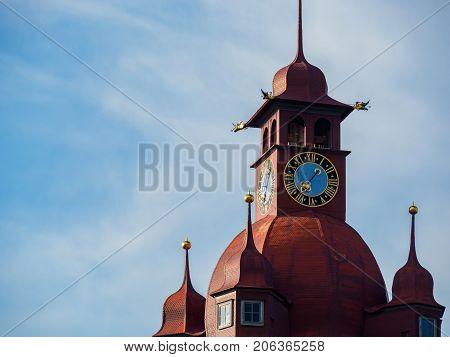 The famous red clock tower in Luzern city Luzern Switzerland.