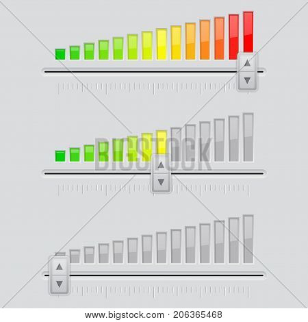 Volume slider. From minimum to maximum level. Vector 3d illustration