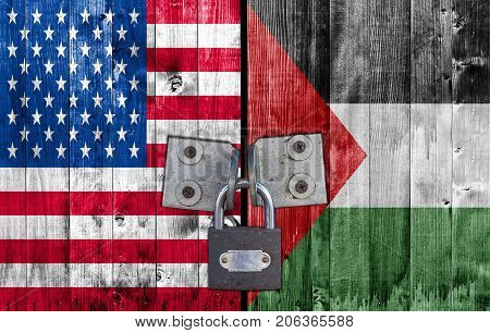 US and Palestine flag on door with padlock