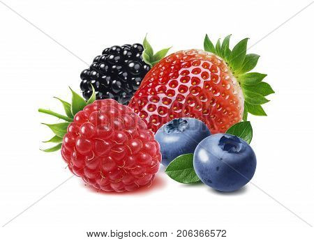 Strawberry raspberry black berry and blueberry isolated on white background