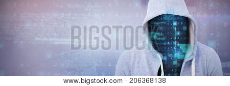 Robber wearing gray hoodie against gray and purple background