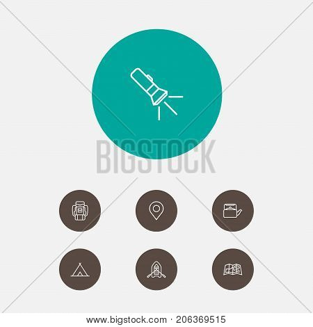 Collection Of Shelter, Baggage, Rubber Boat And Other Elements.  Set Of 7 Camping Outline Icons Set.