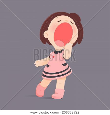 Cartoon Girl Yawning Against Gray Background Sleepy Vector illustration Concept With Sleep And Relaxing.