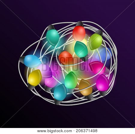 Intricate garlands. Beautiful colorful holidays decorations. Christmas lights on dark background. Vector illustration