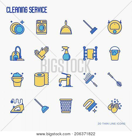 Cleaning service thin line icons set: iron, washer, robot vacuum cleaner, brushes and other accessories for household. Vector illustration.