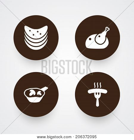 Collection Of Crisp, Delicious, Frankfurter And Other Elements.  Set Of 4 Eat Icons Set.