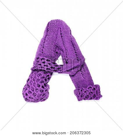 Knitting alphabet. Letter of knit handmade alphabet on white background. Letter A of knit handmade alphabet