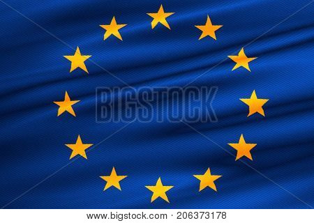3D Rendering, Eu Flag, Euro Flag, Flag Of European Union Waving, Yellow Star On Blue