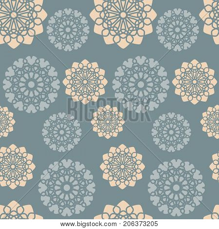 Dusty blue and orange pink floral pattern. Seamless abstract flower background. Vector