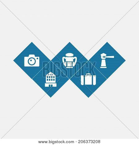 Collection Of Building, Seamark, Photo Apparatus And Other Elements.  Set Of 5 Travel Icons Set.