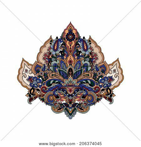 Luxurious paisley composition. Vector image of stylized lotus flower. Traditional motive of Russia, India, Persia isolated on white background. Yoga symbol. Element for your design.