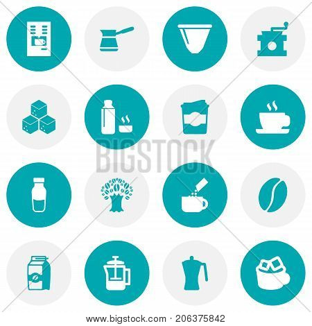 Collection Of Plastic Cup, Mocha, Arabica Bean And Other Elements.  Set Of 16 Beverage Icons Set.