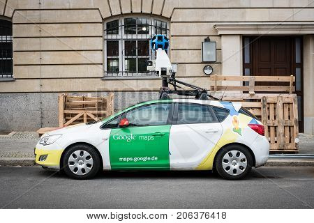 Berlin Germany - September 27 2017: The Google maps / Google Street view car with 360° camera on the street.