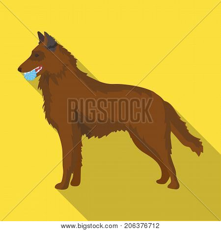 A pet, a dog with a ball in his teeth, a German shepherd. Pet, dog care single icon in flat style vector symbol stock illustration .