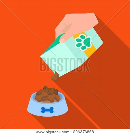 Feeding a pet, feed in a bowl. Pet, dog care single icon in flat style vector symbol stock illustration .