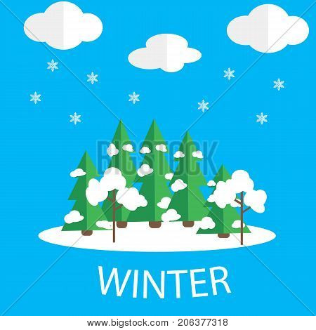 Winter vector picture. Snow weather, green fir-trees under snow on a blue background.