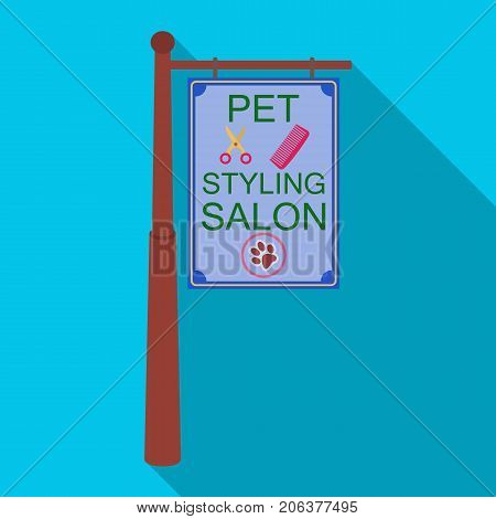 Stylish salon for a pet, a sign on a street post, Pet care single icon in flat style vector symbol stock illustration .