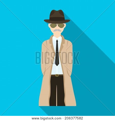 Appearance of the detective. Man detective in a hat and raincoat single icon in flat style vector symbol stock illustration .