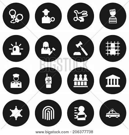 Collection Of Suspicious, Manacles, Thumbprint And Other Elements.  Set Of 16 Criminal Icons Set.