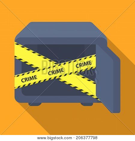 Opened safe with a protective tape. Creme, metal safe single icon in flat style vector symbol stock illustration .