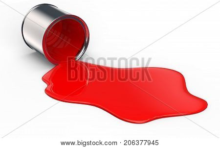 Bucket Spilling Red Paint On The Ground