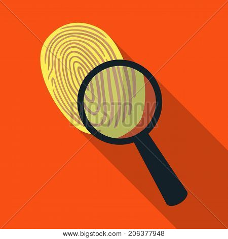 Investigation by fingerprint magnifier, crime. Loupe is a detective tool, single icon in flat style vector symbol stock illustration .