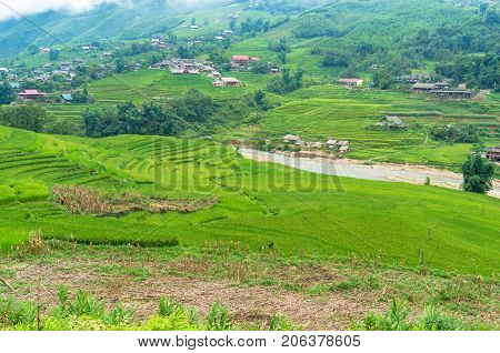 Countryside Mountain Landscape With Rice Terraces And Villages