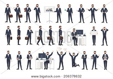 Business man, male office worker or clerk with beard dressed in smart suit in different postures, moods, situations. Flat cartoon character isolated on white background. Modern vector illustration