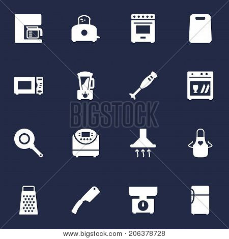 Collection Of Slicer, Furnace, Espresso And Other Elements.  Set Of 16 Cooking Icons Set.