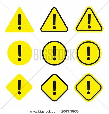 Caution icon set. Warning yellow symbol, caution and alert information. Vector flat style cartoon illustration isolated on white background