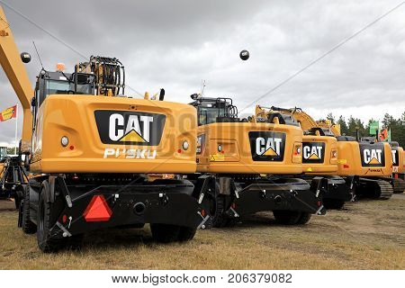 HYVINKAA FINLAND - SEPTEMBER 8 2017: Cat heavy equipment as presented by Witraktor on Maxpo 2017. Witraktor has been the exclusive distribution and service partner of Caterpillar Inc. in Finland nearly 70 years.