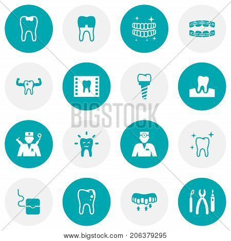 Collection Of Roentgen, Orthodontist, Tooth And Other Elements.  Set Of 16 Teeth Icons Set.
