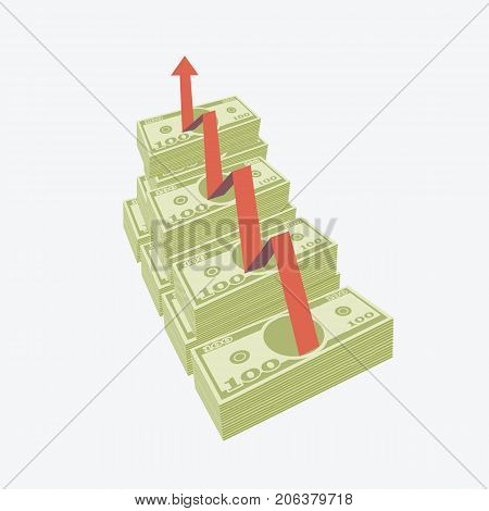 Vector illustration of rising money charts with red arrow.