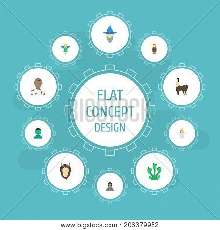 Flat Icons Snake, Wizard, Halo And Other Vector Elements