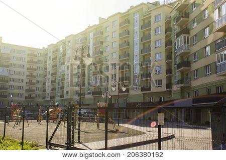 Condominium residential building in the bright sun.