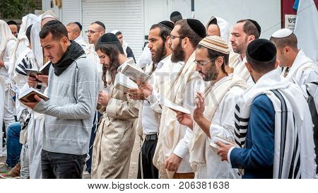 Prayer. Uman Ukraine - 21 September 2017: Rosh Hashanah Jewish New Year. It is celebrated near the grave of Rabbi Nachman. Pilgrims Hasidim on the street of the city of Uman.