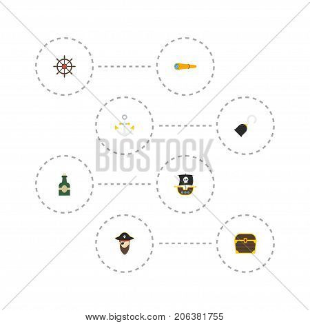 Flat Icons Chest, Vessel, Corsair And Other Vector Elements