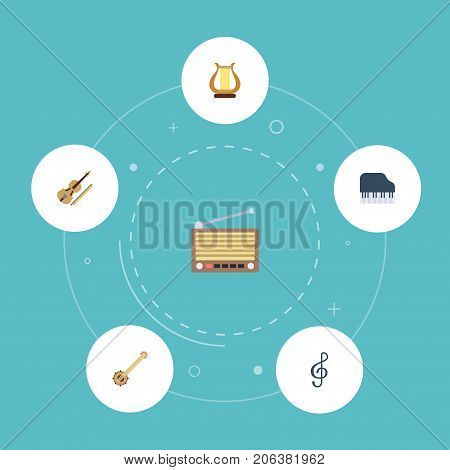 Flat Icons Quaver, Radio, Lyre And Other Vector Elements