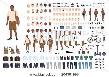 Young guy character constructor. Adult male creation set. Different postures, hairstyle, face, legs, hands, clothes, accessories collection. Vector cartoon illustration Front side back view