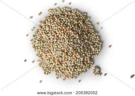 A pile of tri-color couscous isolated on white with shadows.