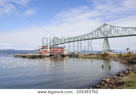 Astoria-Megler Bridge over Columbia River connects Astoria town in Oregon with Washington State.