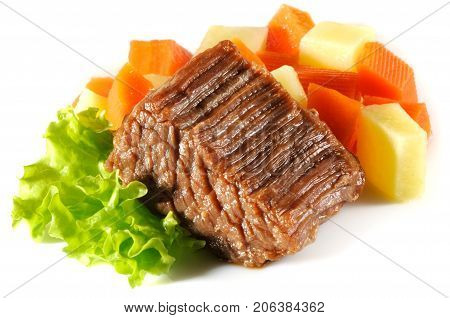 Beef stew with potato on white background
