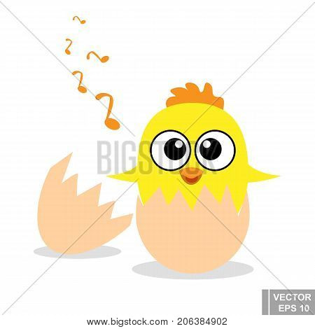 Chick. It Hatched From The Egg. Yellow. Cute. Flat Design. For Your Design.