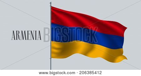 Armenia waving flag on flagpole vector illustration. Triple stripes of wavy realistic flag as a symbol of Armenia country