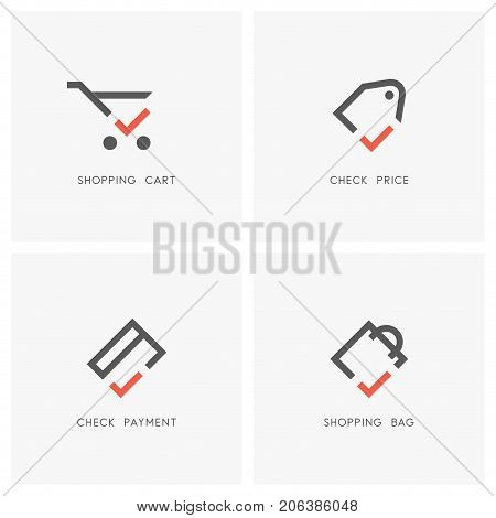 Check mark logo set. Shopping cart and bag, price tag or label and credit card with tick or checkmark symbol - store or shop, sale, money transfer and purchas icons.