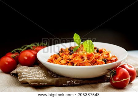 tasty pasta Italian meat sauce pasta on the table