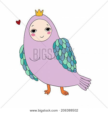 Girl Sirin. Mythological bird. Russian folklore. Isolated objects on white background. Vector illustration.