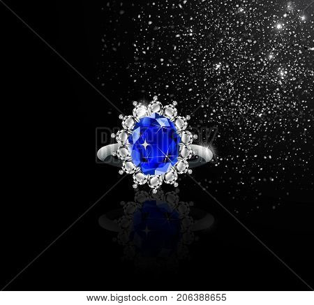 White gold ring with sapphire and diamonds and silver dust vector