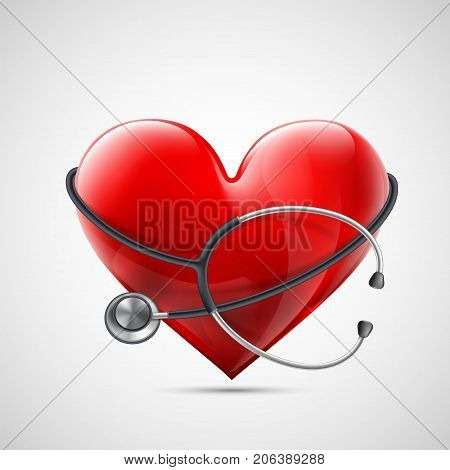 Medical equipment stethoscope around a red human heart. Donation of blood and internal organs. Icon healthcare and medicine. Stock vector illustration.