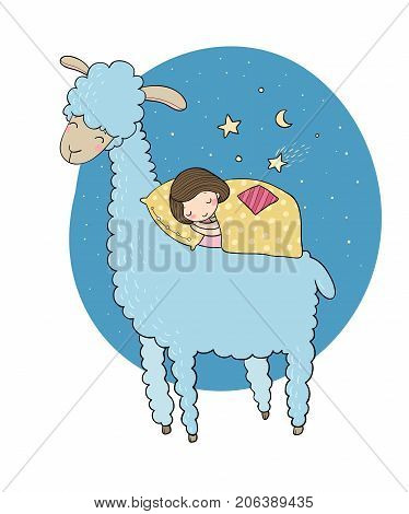 A sleeping girl and a cartoon lama. Good night. Sweet dreams. Vector illustration. bed time. Isolated objects on white background.